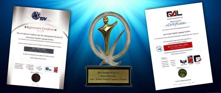دریافت تندیس نشان کیفیت و بهره وری به عنوان اولین موسسه زبان انگلیسی در ایران